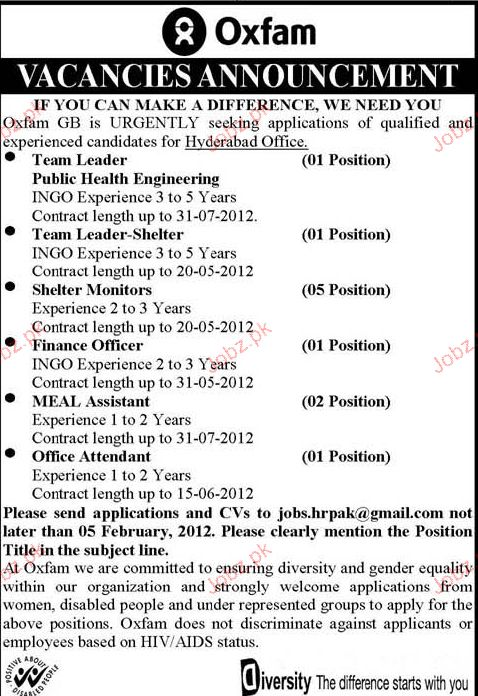 Team Leader Public Health Engineering,Finance Officer Wanted