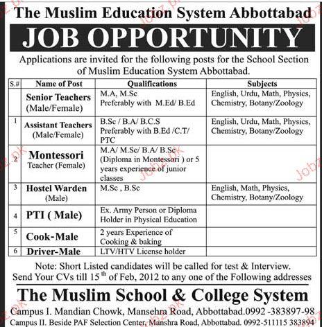Teachers, Hostel Warden, PTI Job Opportunity