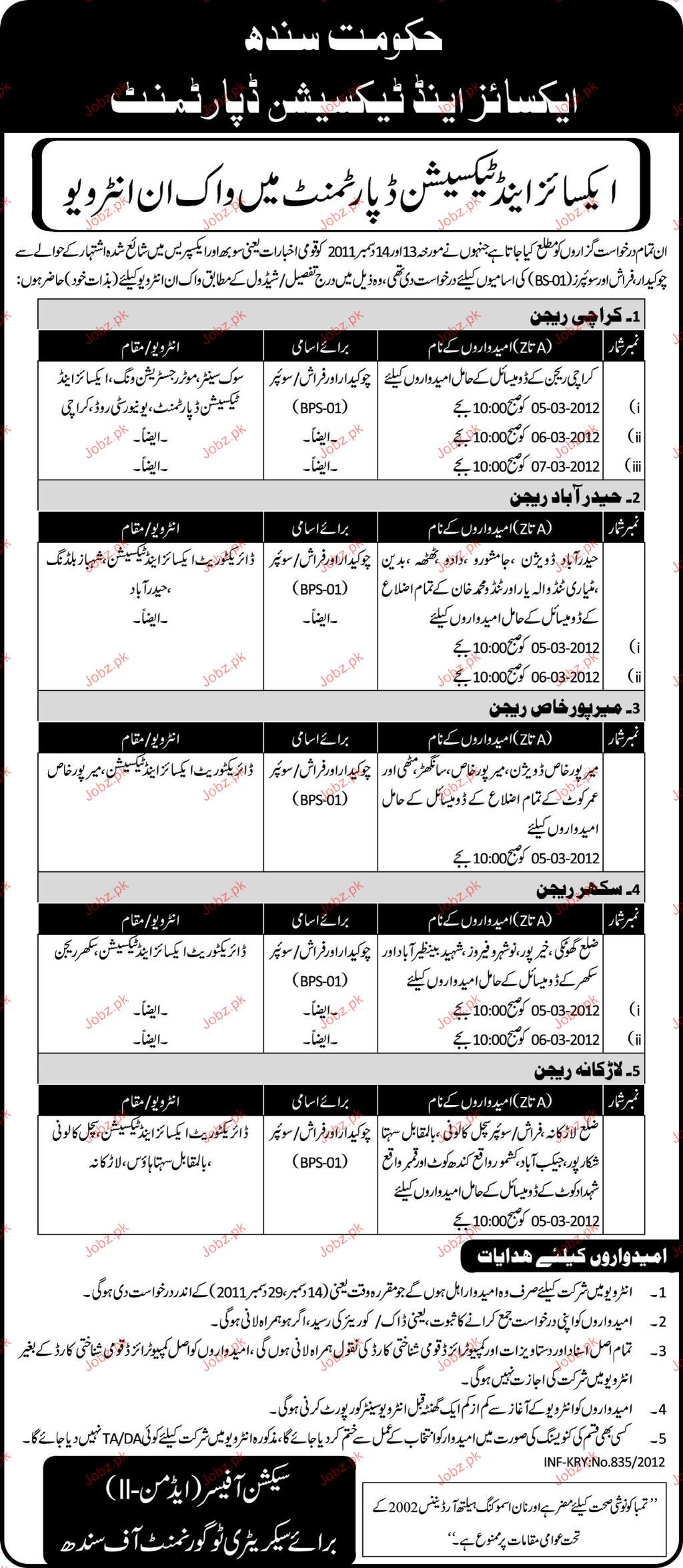 Chawkidar, Farash and Sweepers Job Opportunity