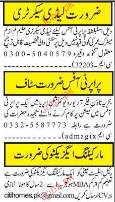 Lady Secretary, Marketing Executive Job Opportunity
