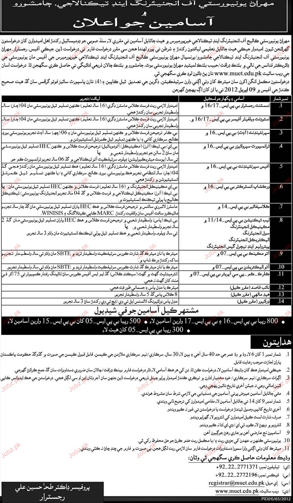 Assistant Registrar, Assistant Welfare Officer Required