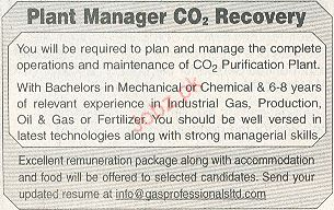 Plant Manager Co2 Job Opportunity