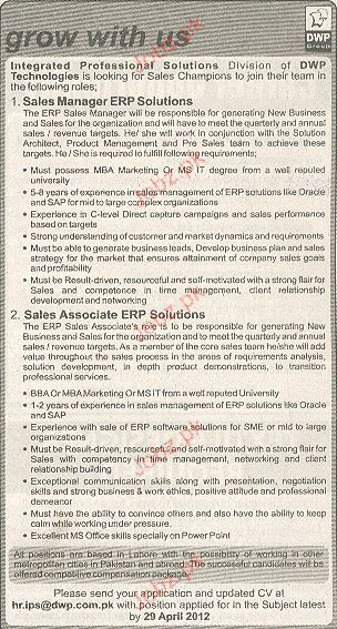 Sales Manager and Sales Associates Job Opportunity