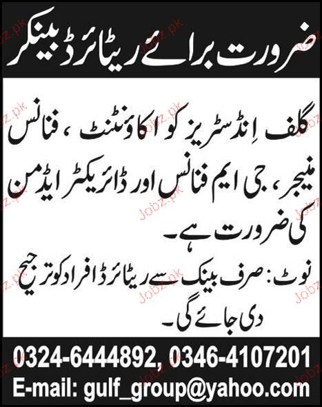 Accountant, Finance Manager, GM Finance Required