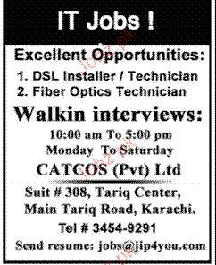 DSL Installer/Technicians and Fiber Optics Technicians Waned