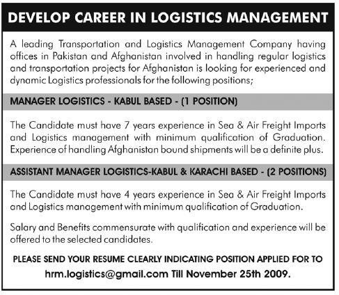Manager Logistics Jobs