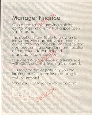 Manager Finance Job Opportunity