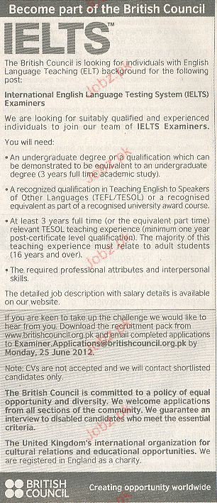 IELTS Examiners Job Opportunity