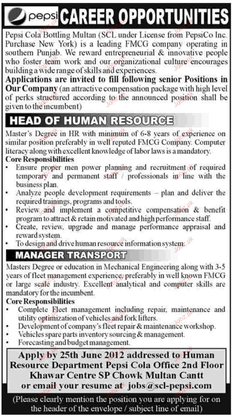 Head of Human Resource and Manager Transport Required