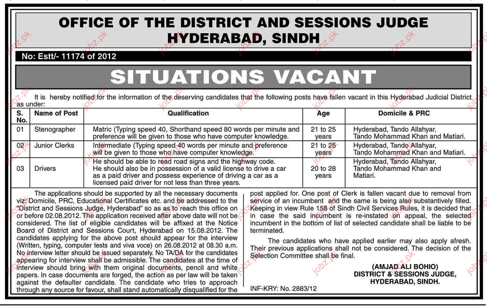 Stenographer, Junior Clerks and Driver job Opportunity
