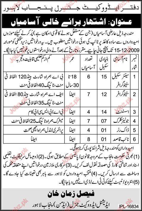 Department Auditor General Punjab Jobs