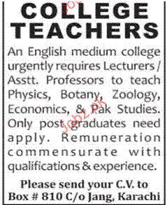 College Teachers Job Opportunity