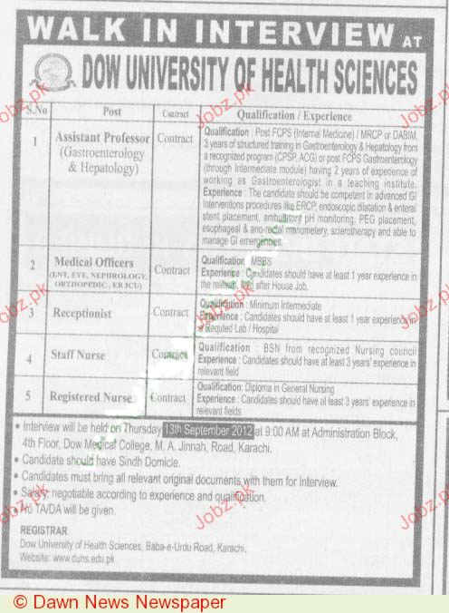 Assistant Professor, Medical Officer, Receptionist Wanted