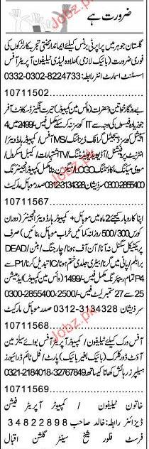 Lady Telephone Operators, Office Assistant Job Opportunity