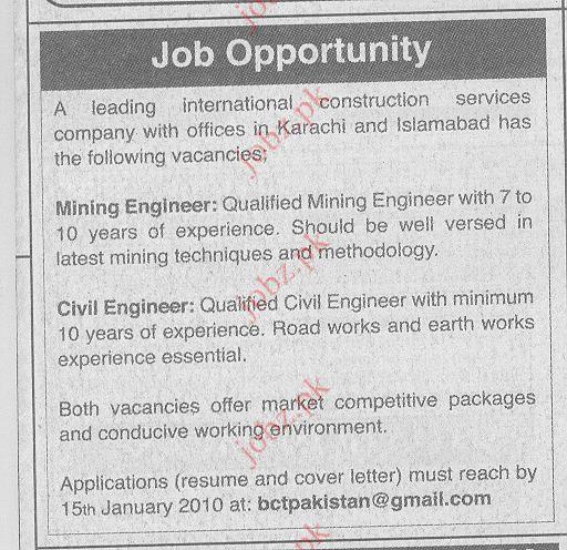 International Construction Company Job Opportunities