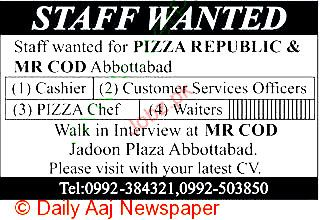Cashier, Customer Service Officer, Pizza Chef Required