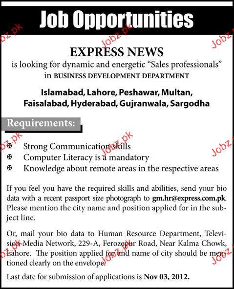 Sales Professionals Job Opportunity