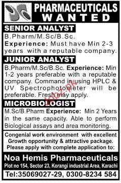 Senior Analyst, Junior Analyst and Microbiologist Required