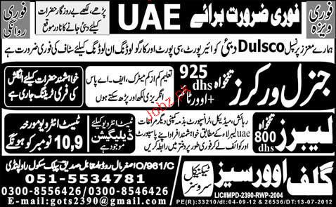Labors and General Workers Job Opportunity