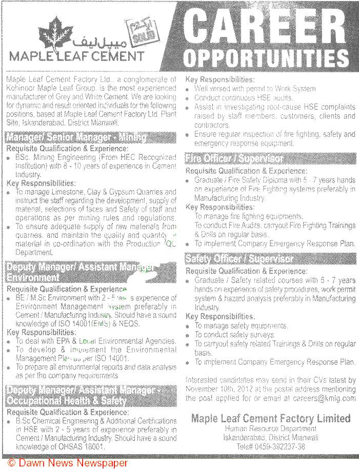 Manager  / Senior Manager Mining Job Opportunity