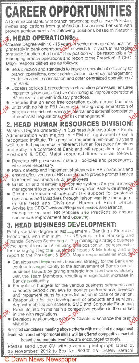 Head Operations, Head Human Resources Job Opportunity