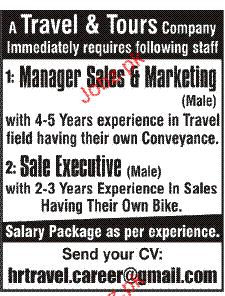Manager Sales & Marketing and Sales Executives Wanted