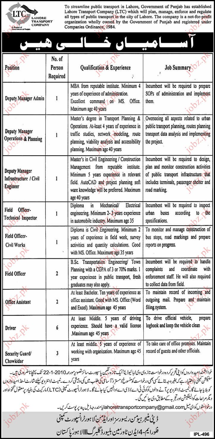 Lahore Transport Company Staff requied