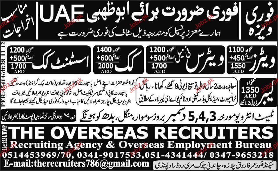 Waiters, waiteress, Cook and Assistant Cook Job Opportunity