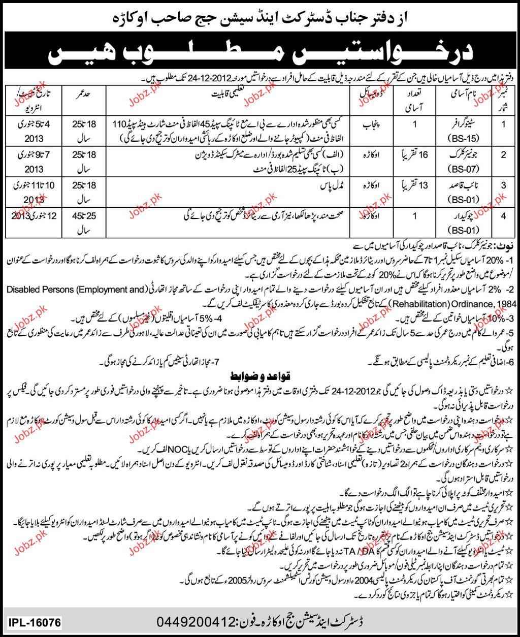 Stenographers, Junior Clerks, Naib Qasid Job Opportunity