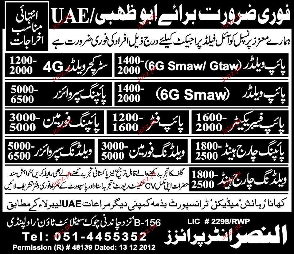 Pipe Welders, Structure Welders, Piping Supervisors Required