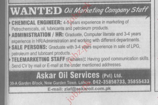 Askari Oil Services Pvt Limited Job Opportunities