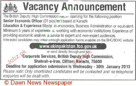 Senior Economic Officer Job Opportunity