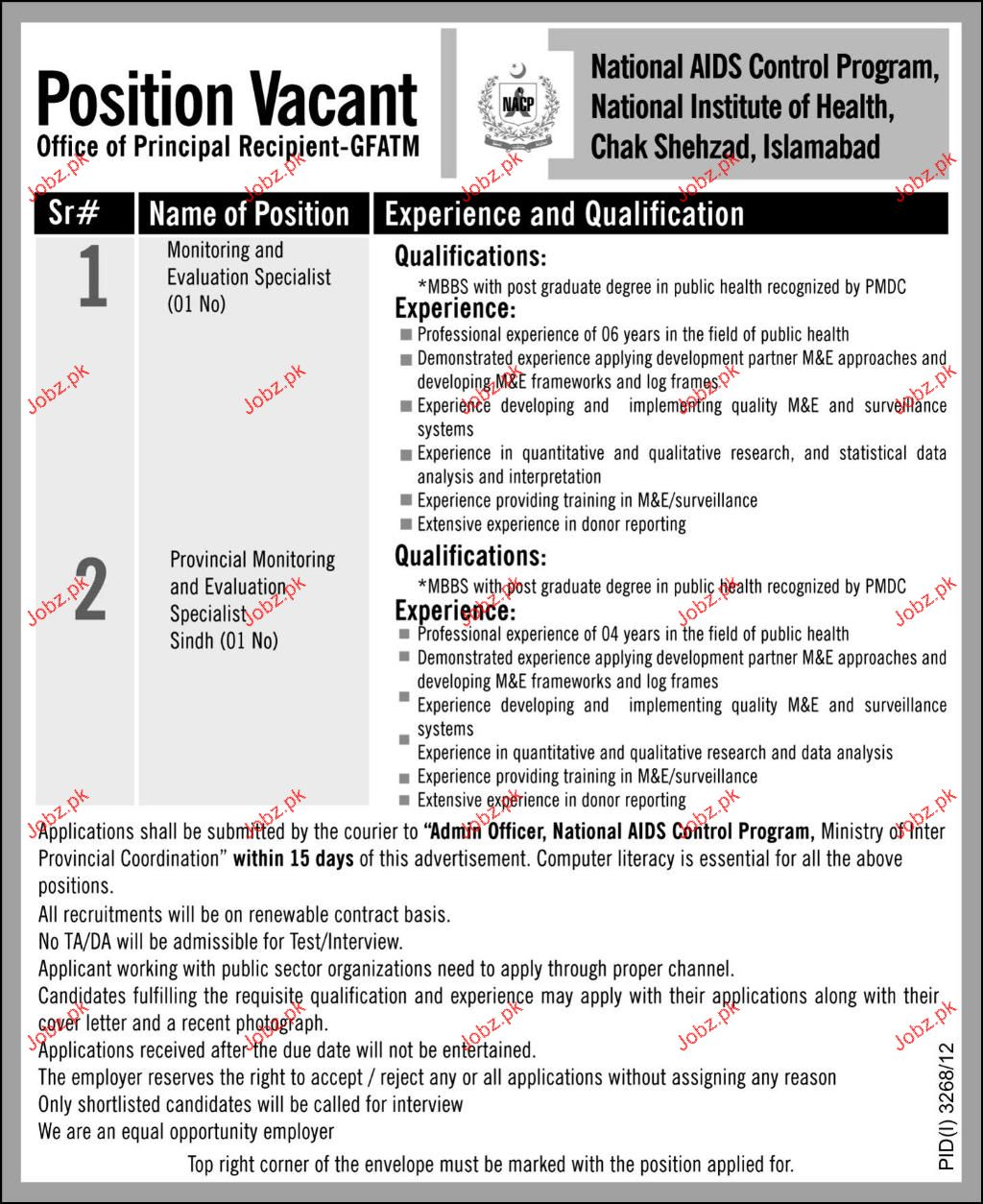 Monitoring & Evaluation Specialist Job Opportunity