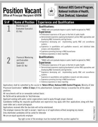 Monitoring and Evaluation Specialists Job Opportunity