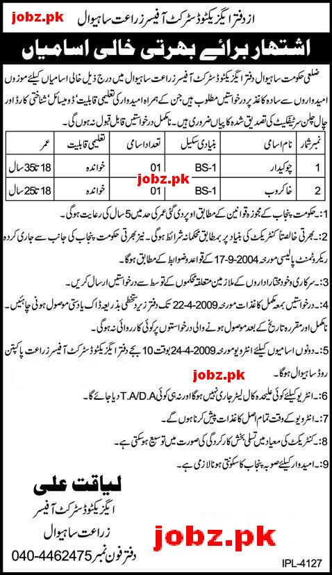 Office Exective District Officer Agriculture Sahiwal Jobs