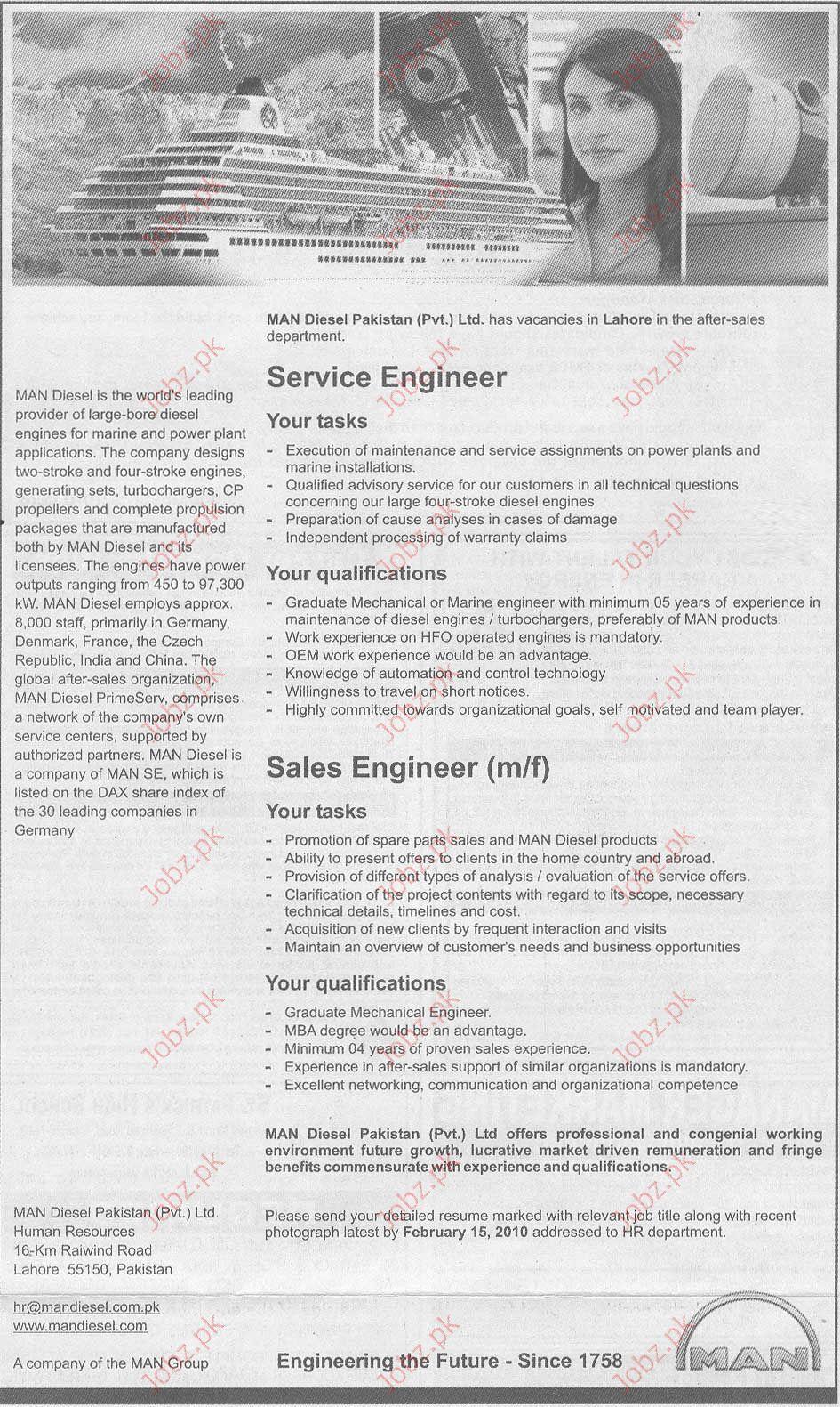 MAN Diesel Pakistan (Pvt) Ltd staff required