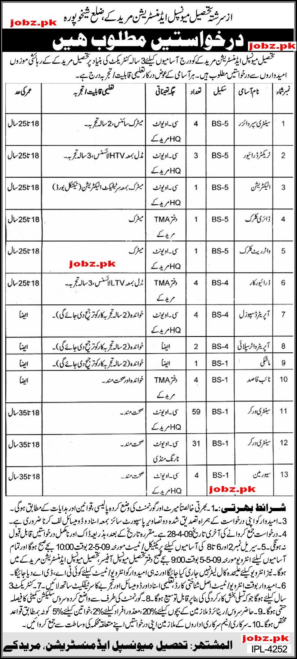 Tehsil municipal administration Jobs
