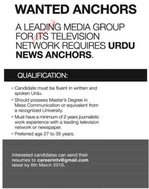 TV Anchors Required for Media Group