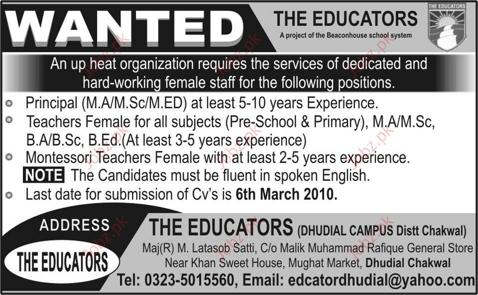 Principal and Teacher required