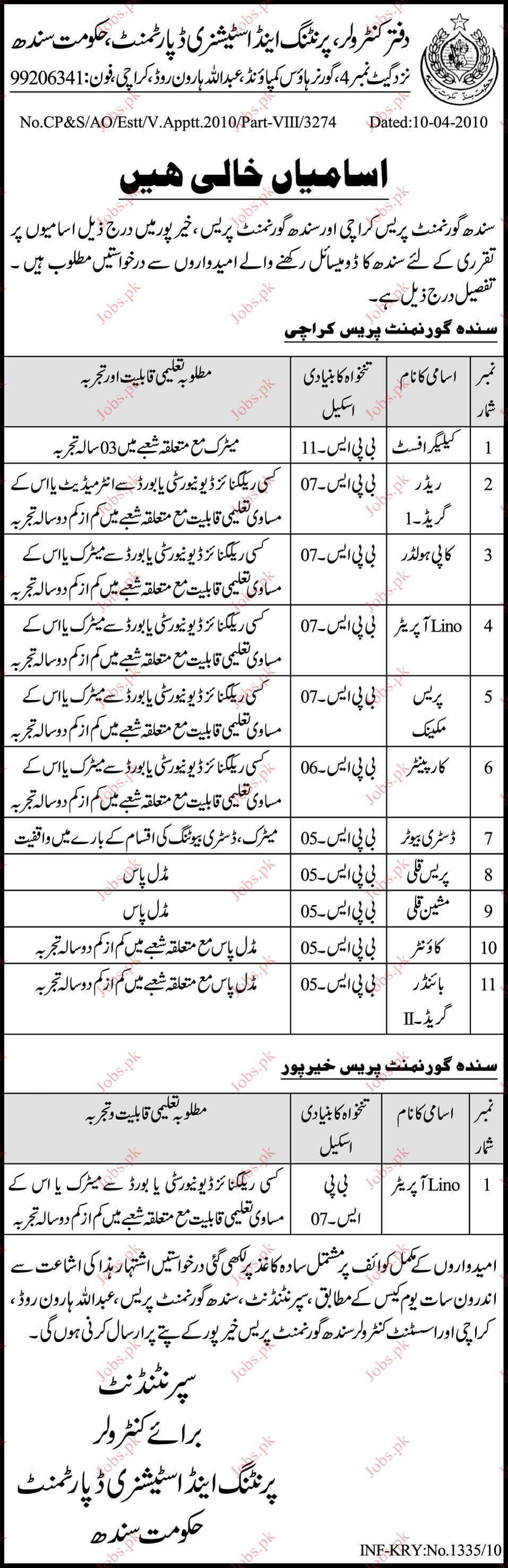 Controlling Office Printing and Stationary Department jobs