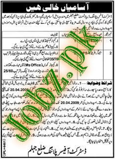 District Office Planning Jehlum Jobs
