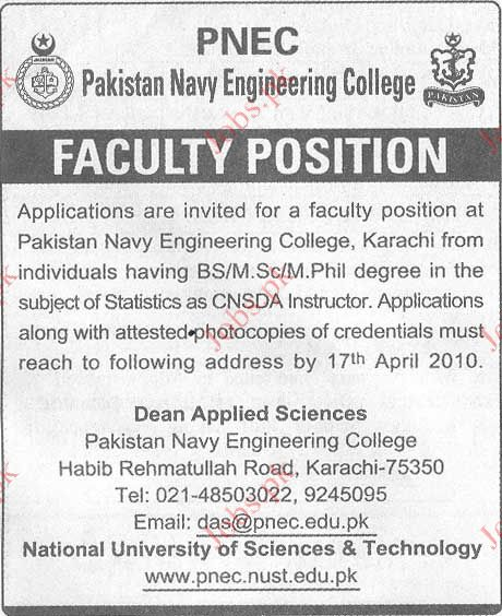 Pakistan Navy Engineering College Job Opportunities