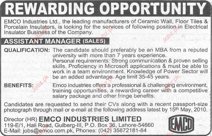 Assistant Manager Sales Required in EMCO Industries Limited