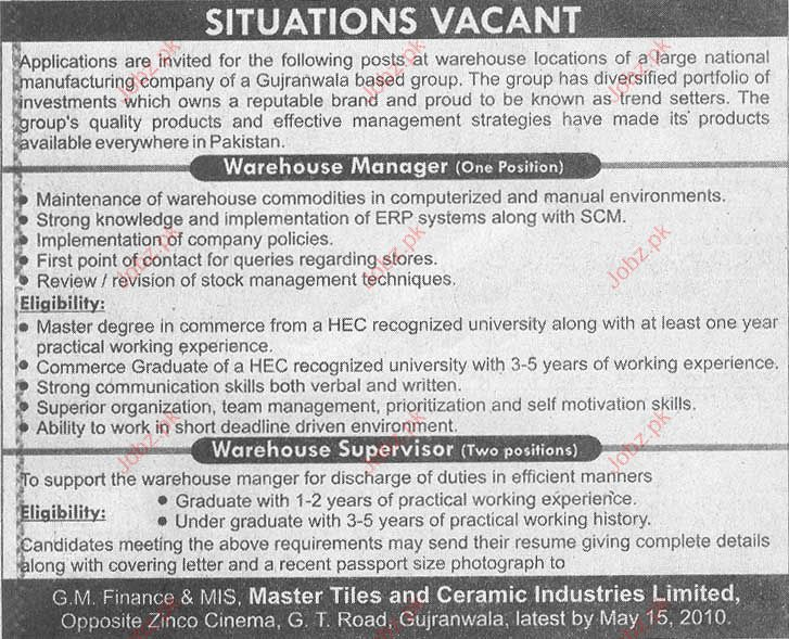 Staff Required in G.M Finance & MIS Master Tiles