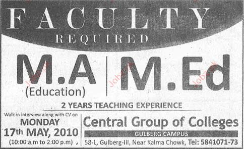 Faculty Required in Central Group of Colleges