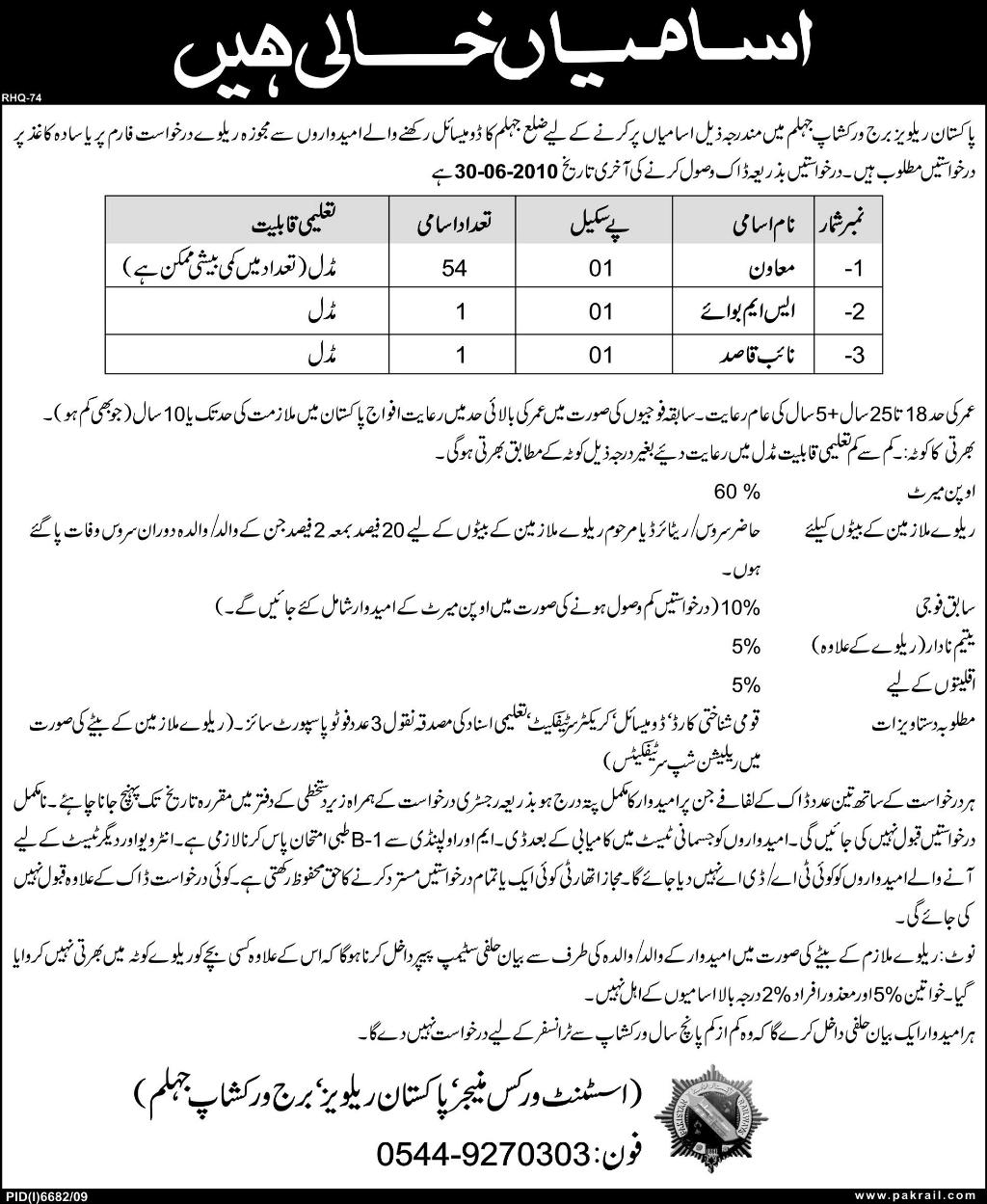 Application Required for Railway Department
