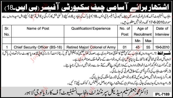 Punjab Institute of Cardiology Job Opportunities