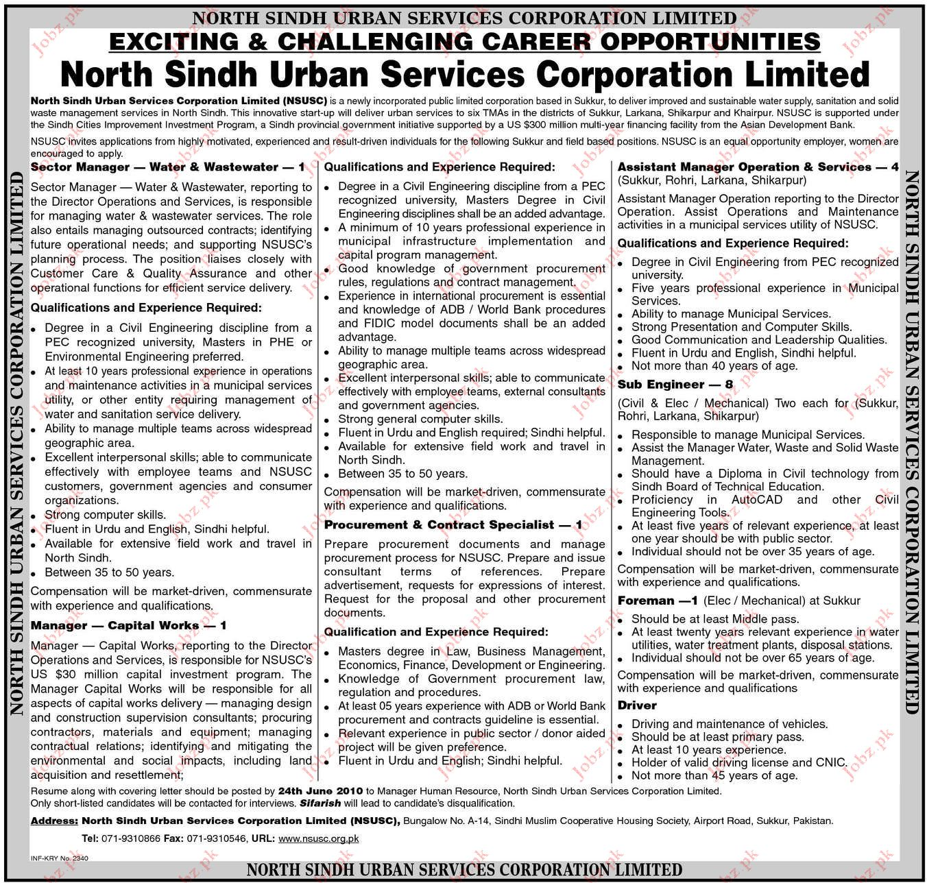 Job Opportunities in North Sindh Urban Services Corporation