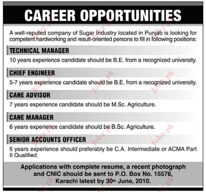 Job Opportunities in Sugar Industry