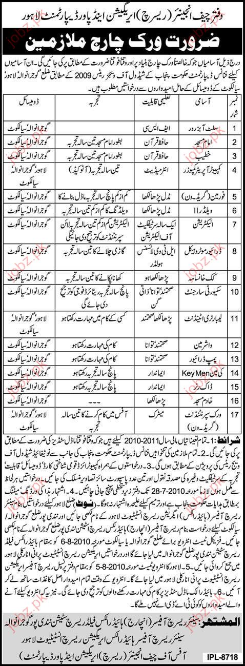 Research Irrigation and Power Department job Opportunity